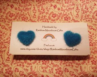 Turquoise Heart Earrings, Fluffy Hearts, Stud Earrings