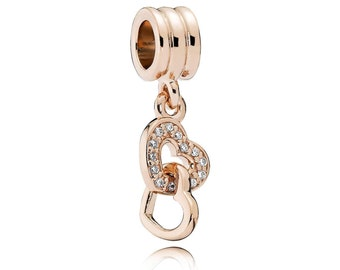 Authentic Pandora Rose Gold Interlocking Hearts Dangle Charm Clear Czs