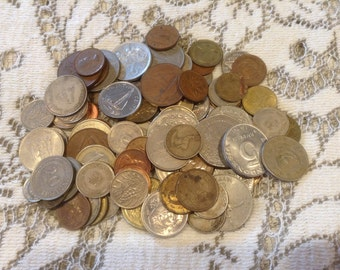 Vintage Foreign Coins-Lot of 96