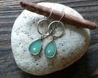 Everyday Hoop Earrings - Chrysoprase and Sterling Silver handmade, artisan, silversmith earrings