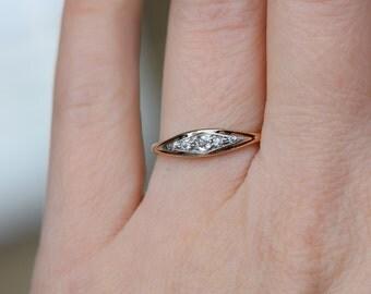 14 Karat Yellow Gold Vintage Diamond Wedding Band, US Size 6.25, Used Gold Ring