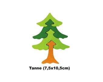 Minipuzzle Fir / Handmade / Animals / Wooden toys / Forest / Waldorf / Montessori