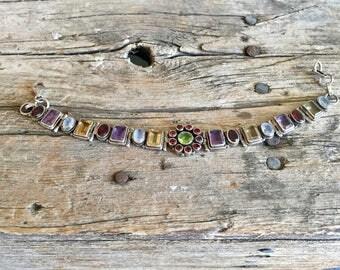 Vintage Sterling Silver and Multi Gemstone Link Bracelet with Flower Center