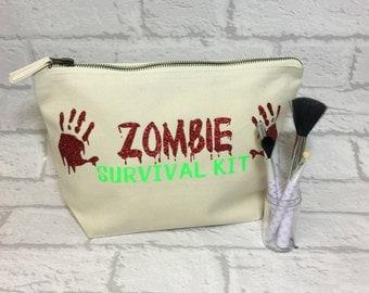 Zombie Makeup Bag, Make Up Bag, Zombie Survival Bag, Accessory Bag, Zombie Gift, Makeup Bag, Zombie Cosmetic Bag, Zombie Accessory Case.