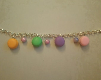 Sweet colourful macarons polymer clay charm bracelet