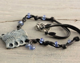 Essential Oils Diffuser Necklace in Indigo Pottery on Suede with Blueberry Quartz - now with free shipping!
