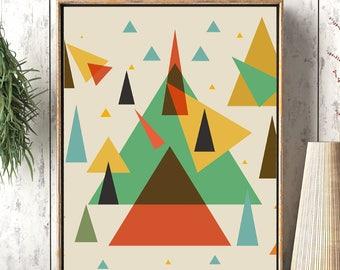 Geometry Art Print, Abstract Poster, Flower Of Life, Triangles Art, Scandinavian Prints, Teal Aquamarine Yellow blush, Geometry