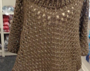 Cowl Neck Crocheted Poncho