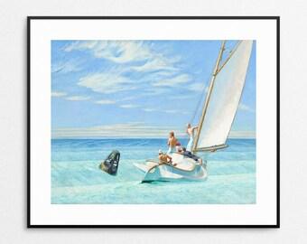 Edward Hopper Print - Ground Swell - Beach Home Decor - Sailboat Wall Art - Ocean Art - Blue Painting - Beach Art - 11x14, 8x10, 5x7 Giclee