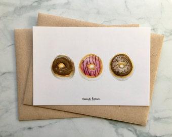 Donut Greeting Cards | Donut Cards | Hello Cards | Donut Watercolor Art | Set of 10 Cards, 10 Kraft Envelopes