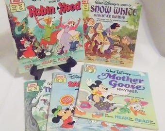 5 Disney See Hear Read Children's Books Robin Hood Snow White Mother Goose Three Little Pigs Disney Books Mickey Mouse Donald