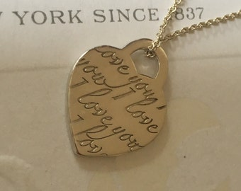Excellent Authentic Tiffany & Co. Notes I Love You Silver Necklace Small