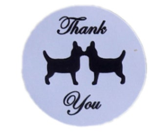 Kissing Chihuahua Round Thank You Self Adhesive Glossy Labels Envelope Seals Sticker Wedding Favors