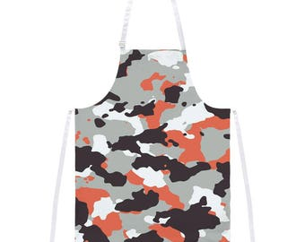 Grey & Orange Camo All Over Apron