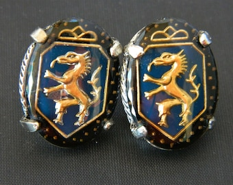 Vintage Goth Dragon Statement Earrings Oval Screw Back Retro Costume Jewelry