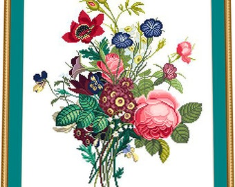 Vintage Flowers - WOOLWORK embroidery pattern, Cross stitch, Needlepoint Tapestry pattern, PDF - instant download