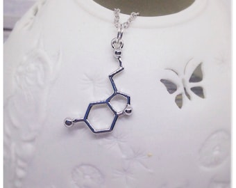 Serotonin Necklace, Serotonin Pendant, Molecule Necklace, Teacher Gifts, Chemistry, Geeks, Happy, Ella Rose, Happy, Serotonin, Science,
