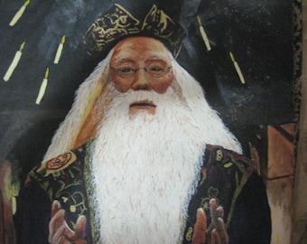 acrylic portrait painting:  Professor Dumbledore