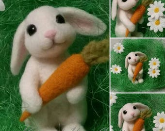 Needle Felted white Bunny with carrot, white rabbit, bunny , wool
