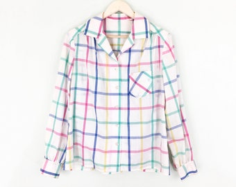 Pastel Plaid button up blouse Spring cotton blend long sleeved top