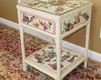 Fantastic Custom Decoupage Floral Applied Wicker Single Drawer Night Table Stand 1980s