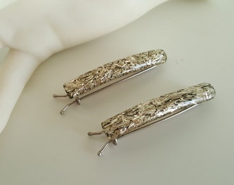 Pair Mid Century Lucite Barrettes - Confetti Suspended in Lucite - 1950s Hair Clips - 1970s Childhood Regained
