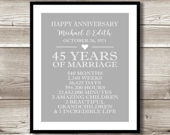 45 Year Anniversary Digital print; gift 45th Anniversary present; Personalized; milestone; gift for parents