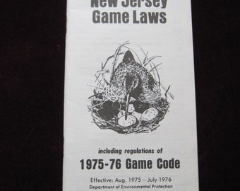New Jersey Game Laws 1975-1976 pamphlet