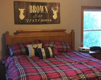 Personalized Buck And Doe Bedroom Lodge-Cabin Sign