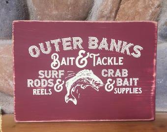 Bait & Tackle Fishing Sign, rustic mancave, fishing bar sign.