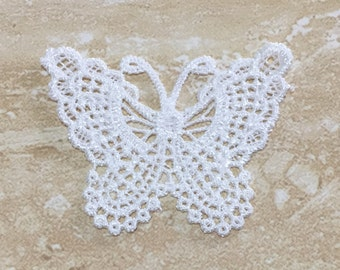 5 pieces White Lace Butterfly Appliques