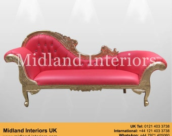 NEW Paris Chaise Longue Sofa - Gold & Red leather