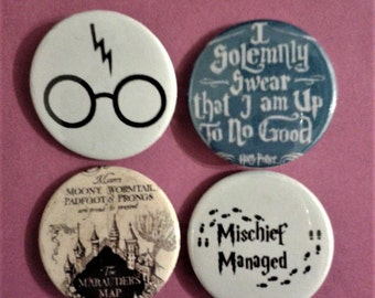 Set of 4 25mm Harry Potter badges