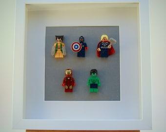 Marvel Super Hero mini Figures framed picture 25 by 25 cm