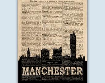 Manchester Art, Manchester Cityscape, Manchester Decor, Manchester England, Manchester Poster, Manchester Print, Manchester Skyline