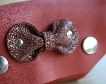 Wallet leather orange sanguine and node leather cinnamon glitter