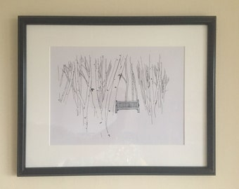 Silver Birch Tree Bench Limited edition illustration