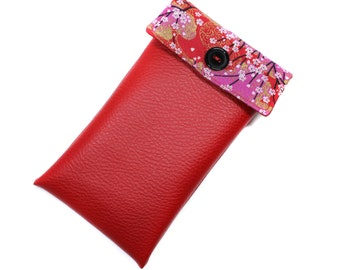 6 imitation leather iphone case and Red Japanese fabric