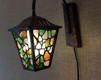 Sea glass  stained glass sconce lantern OOAK boho accent lamp night light
