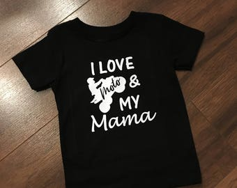 I love moto and mama kids tee