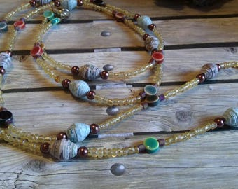 """Paper bead and glass bead necklace, pullover,double wrap necklace, earthtones  27 """" , #e-444"""