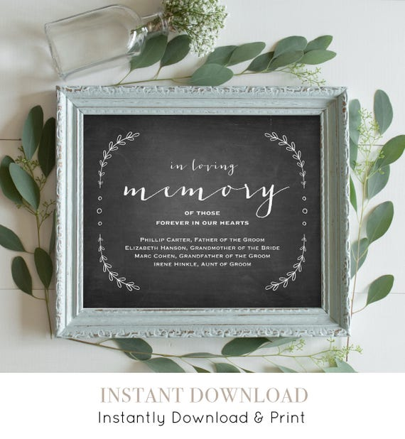 In Loving Memory Sign Template, Printable Wedding Memorial Sign, Editable Text, Rustic Chalkboard Laurels, Instant Download, PDF 8x10 #VC11