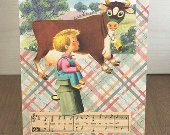 Original Collage Artwork, Mixed Media, Farm Life, Little Benny, OOAK, Farmer in the Dell, Wall Art