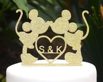 Mickey Minnie Mouse Personalized/Custom Wedding Cake Topper - Bride and Groom Wedding Cake Topper Silhouette