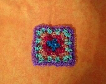 Coasters, Rainbow loom, loom coasters, square, purple, Granny square, handmade, OOAK, handmade, unique