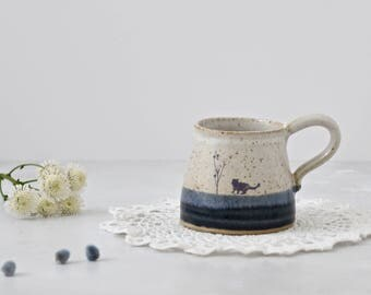 Rustic ceramic black cat mug glazed in shades of blue and creamy white - handmade stoneware pottery