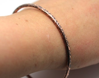 Hammered copper bangle, oxidised copper bangle, chunky copper bangle, thick hammered copper bangle, boho copper bangle,