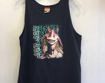 Jar Jar Binks T-Shirt Tank Vintage 1980's  Black