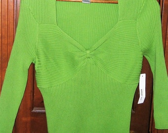 V Neck Blouse-Olive Green-August Silk Label-New Tag-Size Large-Front-Gathered Bow Style-3/4 Length Sleeves-Cotton-Nylon Blend