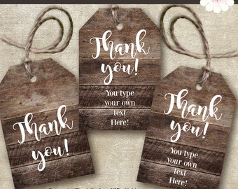 Rustic Printable gift tags, Printable favor tags, rustic wood tags, Instant download, Self editable PDF File T101